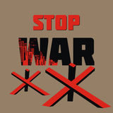 Stop war poster. Stop war. The antiwar poster with the image of the city destroyed by bombings.  Vector illustration Stock Images
