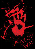 Stop war. Red palm on black background poster vector Royalty Free Stock Photos