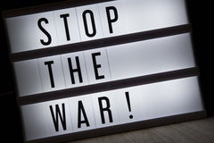 Stop the war. `Stop the war` text in lightbox stock photos