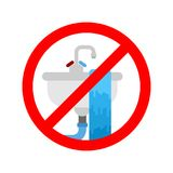 Stop Washbasin clogged. It is forbidden to usesink. Prohibition. Sign. Vector illustration Royalty Free Stock Images
