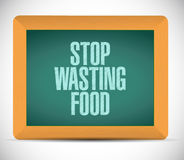 Stop wasting food message on a board. illustration Royalty Free Stock Photos