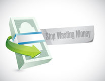 Stop wasting money message sign illustration. Design over a white background Royalty Free Stock Images