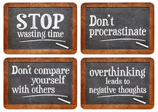 Stop wasting time blackboard set Royalty Free Stock Photos