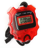 Stop watch. A red stop watch on white background stock photos
