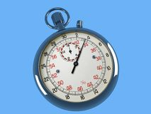 Stop Watch. Image of a stop watch on a blue background stock illustration