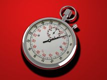 Stop Watch. Image of a stop watch on a red background Stock Photo