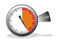 Stop watch. Illustration of stop watch showing 25 min Royalty Free Stock Photography