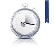 Stop watch. Or timer and blue ribbon Stock Photo