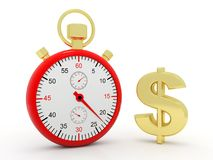 Stop watch with Dollar in white background. 3d render vector illustration