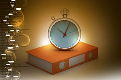 Stop watch with file folder. In color background Royalty Free Stock Photography
