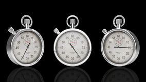 Stop Watch Time Lapse against black, Three Different Angles, Alpha Matte, stock footage Royalty Free Stock Photo