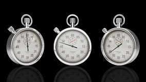 Stop Watch Time Lapse against black, Three Different Angles, stock footage Royalty Free Stock Image