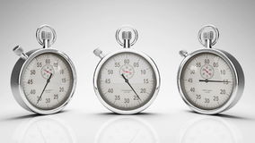 Stop Watch Time Lapse, Three Different Angles, Alpha Matte, stock footage Stock Photography