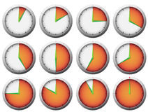 Stop watch timer. Timer clock with 5 minutes intervals marked with color Stock Image