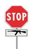 Stop weapons concept image on road sign. On white background Royalty Free Stock Photos