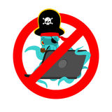 Stop Web pirate Octopus and laptop. Ban sign poulpe internet hac Stock Image