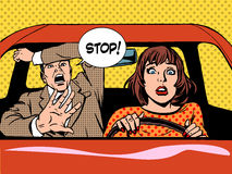 Stop woman driver driving school panic calm. Woman driver driving school panic calm retro style pop art. Car and transport Stock Photos
