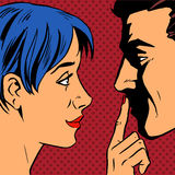 Stop woman invites man to stay put a finger to his Stock Images