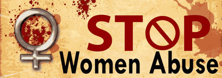 Stop Women Abuse Grunge Banner Stock Images
