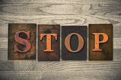 Stop Wooden Letterpress Theme Royalty Free Stock Image