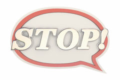Stop Word End Halt Message Speech Bubble Royalty Free Stock Photography