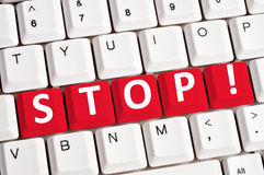 Stop word on keyboard Stock Photography