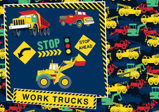 Stop! work trucks ahead. Stock Photos