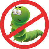 Stop worm. Anti parasite sign with a funny cartoon worm-parasite Royalty Free Stock Photos