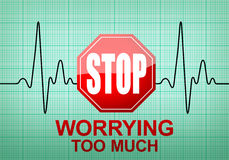 STOP WORRYING TOO MUCH on ECG recording paper. STOP WORRYING TOO MUCH written on ECG recording paper expressing warning on heart condition, health hazard Royalty Free Stock Photos