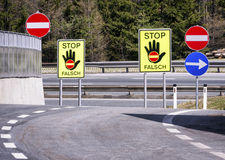 Stop - wrong way Stock Images