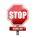 Stop. wrong way street sign illustration Stock Photography
