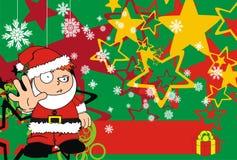 Stop Xmas santa kid cartoon expression postal Royalty Free Stock Photos