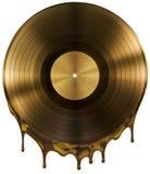 Stopiona lub rozciekła dokumentacyjna muzyczna dysk nagroda odizolowywająca na czerni Obraz Stock