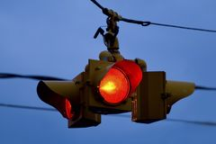 Stoplight. Street stoplight against blue sky royalty free stock photo