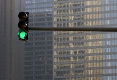 Stoplight Against Building Stock Image