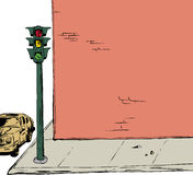 Stoplight on corner background illustration. Background illustration of blank cartoon brick wall and sidewalk with stoplight and car Stock Images