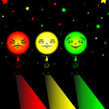 Stoplight. Men tricolor with power button Royalty Free Stock Photo