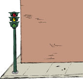 Stoplight near intersection and brick wall cartoon illustration. Background illustration of blank cartoon brick wall and sidewalk with stoplight over white Stock Photography
