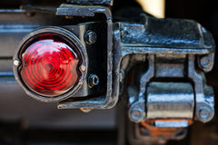 Stoplight retro truck. Taillight car. Stoplight (red color) retro truck. Taillight car soft focus detail. Closeup stock image