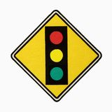 Stoplight sign. Stoplight ahead road sign against white background stock photography