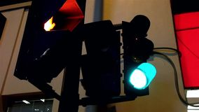 Stoplight turning green to red stock footage