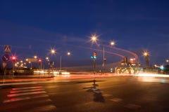 Stoplights at night Royalty Free Stock Photos