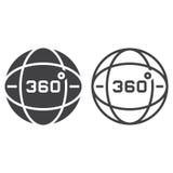 360 stopni widok linii ikony, kula ziemska kontur i bryła wektoru znak, ilustracja wektor
