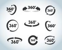 360 stopni widoku Wektorowe ikony ustawiać Rzeczywistość Wirtualna ikony Odosobnione ilustracje ilustracji