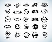 360 stopni widoku Wektorowe ikony ustawiać Rzeczywistość Wirtualna ikony Odosobnione wektorowe ilustracje Czarny i biały wersja royalty ilustracja