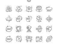 360 stopni Wykonującej ręcznie piksla Perfect wektoru ikon 30 Cienkiej Kreskowej 2x siatki dla sieci Apps i grafika ilustracja wektor