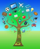 Stopnia drzewo Pokazuje stopnie I kwalifikacji 3d ilustrację ilustracji