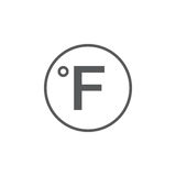 Stopnia znak, Fahrenheit ikona odizolowywająca na białym tle również zwrócić corel ilustracji wektora ilustracja wektor