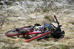 Bike with equipment of cyclist on grass Royalty Free Stock Photos