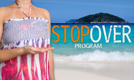 Stopover program concept is presented by woman on the beach Royalty Free Stock Photos